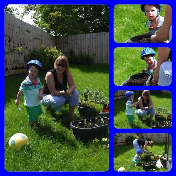 Andrew and Granny planting seeds